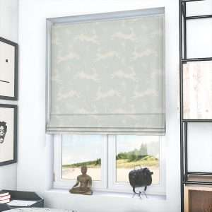 Country Hares Duck Egg Roman Blind